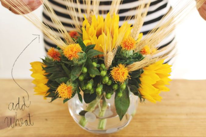 Add wheat to Autumn floral arrangements